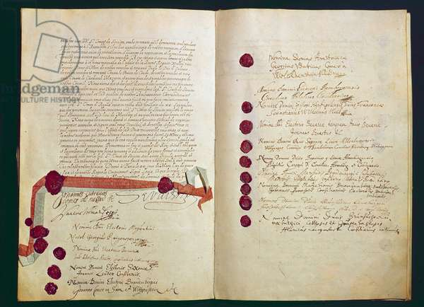 Thirty Years' War (1618-1648): double page of the Treaty of Westphalia signed on 24/10/1648 and ending the war by reshaping the map of Europe. Paris, Ministry of Foreign Affairs