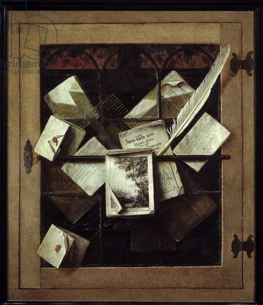 Trompe l'oeil to the window. Painting by Cornelis Gysbrechts (17th century) Ec. Holl. Oil on canvas. Size: 0,69 x 0,59m Rouen, Musee Des Beaux Arts