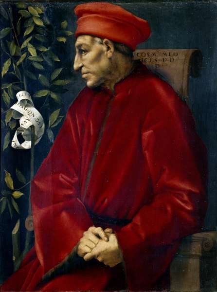 Portrait of Cosimo (Cosimo de Medici), known as Cosimo the Old Medici (1389-1464) Painting by Jacopo (Iacopo) Carrucci dit il Pontormo (Pontormo) (1494-1556), 1518. H/T 86x65 cm Florence Musee des Uffizi (Uffizi) - Portrait of Cosimo (Cosimo de Medici), known as Medicis the Elder (1389-1464). Painting by Jacopo (Iacopo) Carrucci called the Pontormo (Pontormo) (1494-1556), 1518. Oil on canvas. 86x65 cm. Uffizi Gallery Museum, Florence, Italy