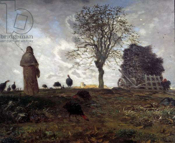 Autumn Landscape with a Turkey Keeper Painting by Jean francois Millet (1814-1875) 19th century Sun. 0,99x0,81 m New York. Metropolitan Museum