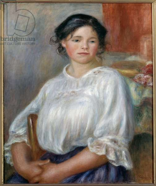 Sitting young girl. Around 1909. Painting by Pierre Auguste Renoir (1841-1919), 1909.Oil on canvas. Dim: 0.65 x 0.54m. Paris, Musee d'Orsay