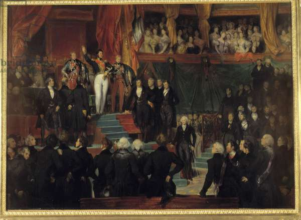 """Revolution of 1830: """""""" King Louis Philippe I (1773-1850) swore to maintain the Charter of 1830 in the presence of the chambers reunited in the provisional hall of the Palais Bourbon on August 9, 1830"""""""" Painting by Eugene Deveria (1805-1865) 1836 Sun. 0,77x1,1 m"""