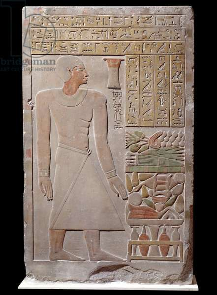 Egyptian antiquite: limestone stele of the monument to the memory of the spokesman of the Vizir Senousret forming a chapel. Around 1700 BC. Late 12th dynasty, 13th dynasty. Paris, Louvre Museum