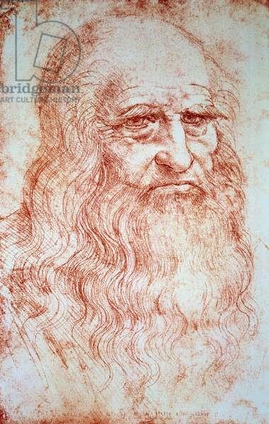 Self-Portrait Drawing a la sanguine by Leonard de Vinci (Leonardo da Vinci) (1452-1519) Around 1516.