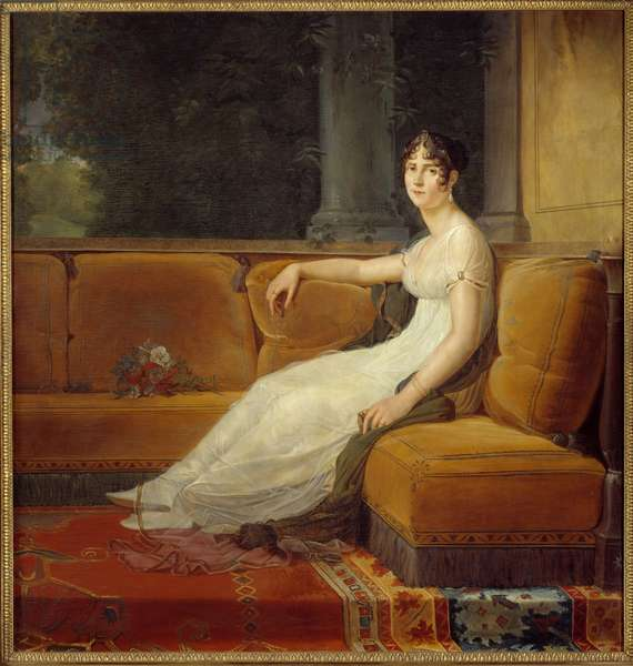 Portrait of the Impress Josephine de Beauharnais (1763-1814) in her Salon at the Malmaison Painting by Francois Gerard (1770-1837) 1801 Sun. 1,71x1,64 m Malmaison, musee du chateau - Full-length portrait of Empress Josephine de Beauharnais (1763-1814) in the Malmaison's salon. Painting by Francois Pascal Simon Gerard (1770-1837), 1801. 1.71 x 1.64 m. Castle Museum of Malmaison, Rueil-Malmaison, France