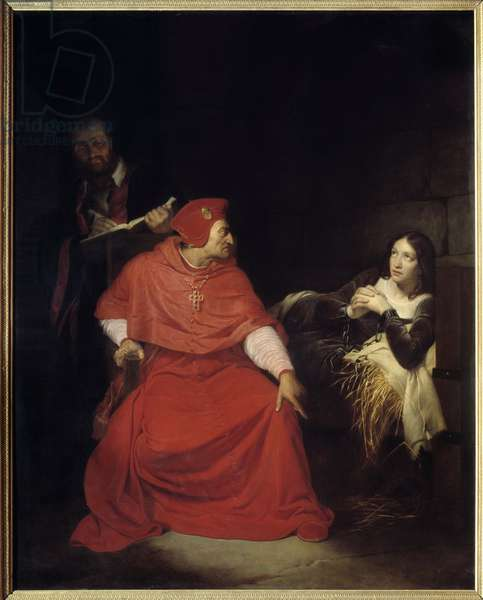 """Joan of Arc (1412-31) and the Cardinal of Winchester in 1431, 1824 - Hundred Years' War: """""""" Joan of Arc (1412-1431) is interrogated in her prison by Cardinal Winchester"""""""" Joan of Arc injured in Compiegne is imprisoned in the dungeon of Philip Augustus's castle in 1431. She'll be sentenced for heresie. Painting by Paul Delaroche (1797-1856) 1824 Sun. 2,77x2,17 m Rouen, Musee des Beaux Arts"""