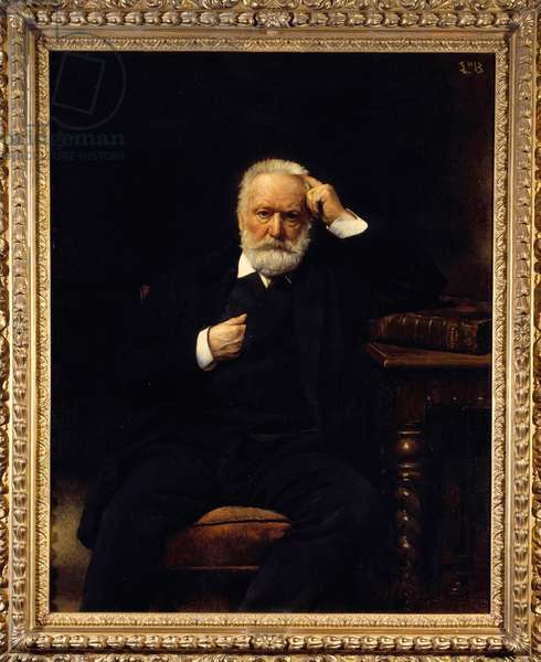 Portrait of the French writer Victor Hugo (1802-1885) Painting by Leon Joseph Bonnat (1833-1922) 19th century Versailles, Musee du Chateau - Portrait of the French writer Victor Hugo (1802-1885). Painting by Leon Joseph Bonnat (1833-1922), 19th century. Castles Museum of Versailles and Trianon, Versailles, France