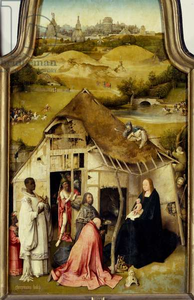 Adoration of the Triptych Magi. Detail of the dentral panel. Painting by Hieronymus Van Aeken (Aken) dit Jerome Bosch (1450-1516). 1510-1511. Madrid. Prado Museum.