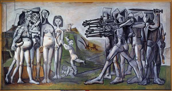 Kree massacre: naked women and children facing military arms. Denunciation of the intervention of the United States in Korea during the Civil War (Kree War, 1950-1953). Painting by Pablo Picasso (1881-1973), 1951. Oil on counterplate. Dim: 1,10 x 2,10m. Paris, Musee Picasso.