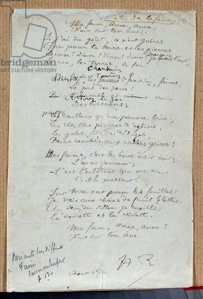 """Manuscript of the poem """"Les fetes de la faim"""""""" by Arthur Rimbaud, August 1872. Charleville, Musee Rimbaud"""
