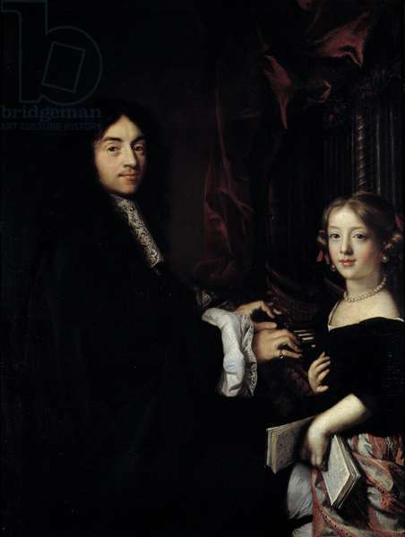 Portrait of the organist Charles Couperin (1638-1679) with the daughter of the painter Painting by Claude Lefebvre (1632-1675) 17th century Sun. 1,27x0,96 m Versailles, musee du chateau
