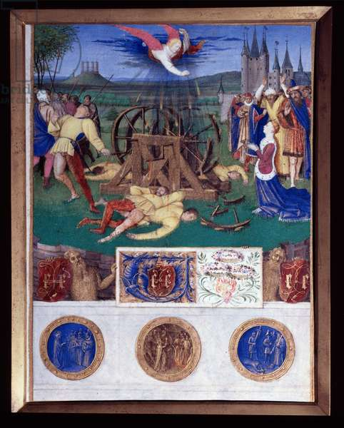 """The martyrdom of Catherine of Alexandria Miniature taken from """"The Book of Hours of Etienne Chevalier"""" by Jean Fouquet (1420-1477/1481), 15th century. Chantilly, Conde Museum"""