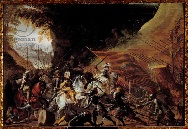 Henry IV (1589-1610) loading at the head of his cavalry. Anonymous French painting of the 17th century. Oil on wood. Dim: 0.35 X 0.52m. Pau, Musee Du Chateau