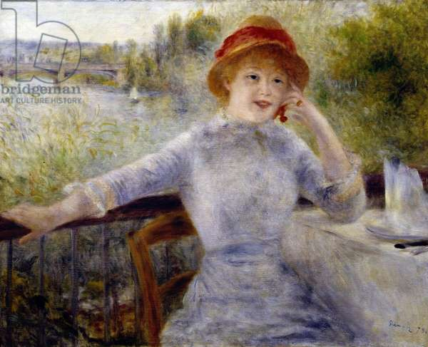 "Portrait of Alphonsine Fournaise (1845-1937), formerly known as """" A la Grenouillere"""": Daughter of the owner of a restaurant on the island of Chiard (Yvelines) between Chatou and Rueil, Painting by Pierre Auguste Renoir (1841-1919), 1879, 0,73 x 0,93 m Paris, musee d'Orsay - Portrait of Alphonsine Fournaise (1845 1937). , Painting by Pierre Auguste Renoir (1841-1919), 1879, 0.73 x 0.93 m. Orsay Museum, Paris"