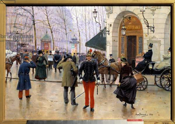 """Beautiful period: """"The Boulevard des Capucines in front of the Theatre du Vaudeville in Paris"""""""" On the left are visible from the Morris columns. Painting by Jean Beraud (1849-1935) 1889 Sun. 0,35x0,51 m Paris, Musee Carnavalet"""
