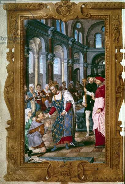 """The king touches, God hears you King Henry II (1519-1559), thaumaturge, warriors a sick of ecrouelles in the abbey of Saint Marcoul, just after the ceremony of the coronation of Reims. Near him the arch of Reims. Miniature from """"The Hours of Henry II"""""""" 1547-1550. Paris, B.N."""