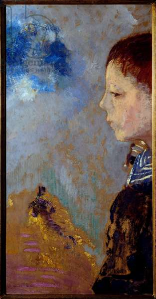 Portrait of Ari Redon (1889-1972) on the marine pass (son of the artist). Painting by Odilon Redon (1840-1916), 1897. Oil on canvas. Dim: 0.41 x 0.22m. Paris, Musee d'Orsay