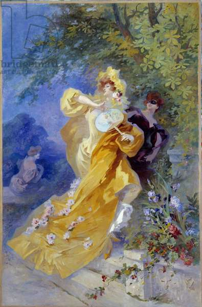 The Yellow Domino Painting by Jules Cheret (1836-1932) 20th century Nice, Musee Cheret
