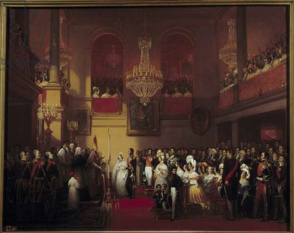 The wedding of Leopold I King of the Belgians with Princess Louise d'Orleans in Compiegne 9/08/1832 Painting by Joseph Court (1797-1865) 1837 Sun. 0,9x1,16 m  - Wedding of Leopold I, King of Belgium and Princess Louise of Orleans at Compiegne, 9 August 1832. Painting by Joseph Court (1797-1865), 1837. 0.9 x 1.16 m.