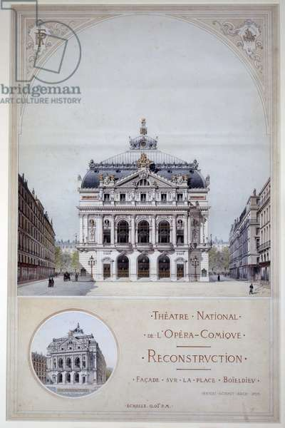 Architecture: project for the Opera Comique, facade of Place Boieldieu. Drawing a pen, watercolour and gouache by Henri Schmit (1851-1904) 1893