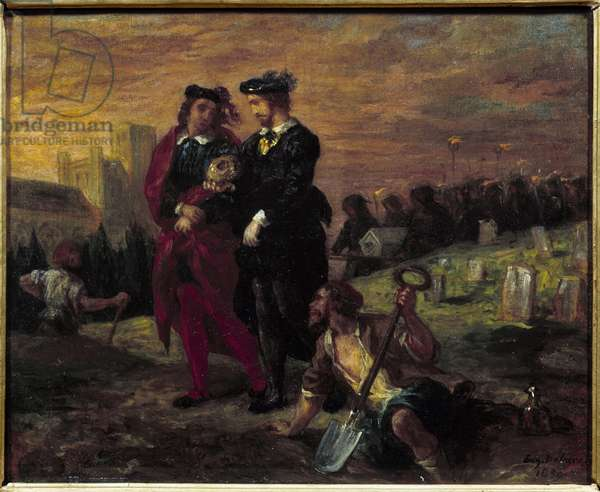 """Hamlet and Horatio at the cemetery. Act V of William Shakespeare's play """"Hamlet"""". Painting by Eugene Delacroix (1798-1863) Ec. Fr., 1859. Oil on canvas. Dim: 0,29 x 0,36m."""