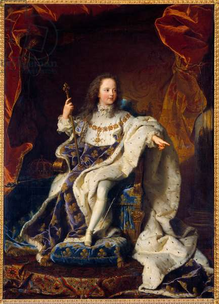 Portrait of Louis XV five year old child in sacred costume, King of France (1710-1774). Painting by Hyacinthe Rigaud (1659-1743), 1715. Oil on canvas. Dim: 1,89 x 1,35m. Versailles, Musee Du Chateau - Portrait of Louis XV, King of France (1710-1774) as a child, at the age of five, wearing the Coronation Dresses. Painting by Hyacinthe Rigaud (1659-1743), 1715. Oil on canvas. 1.89 x 1.35 m. Castle Museum, Versailles, France