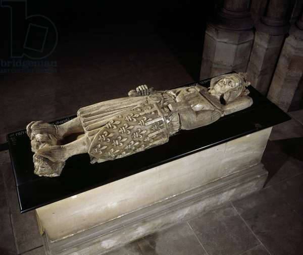 Lying in marble of Charles I of Anjou or Charles of Sicily (1227-1285), King of Naples and Sicily. Basilica of Saint Denis.