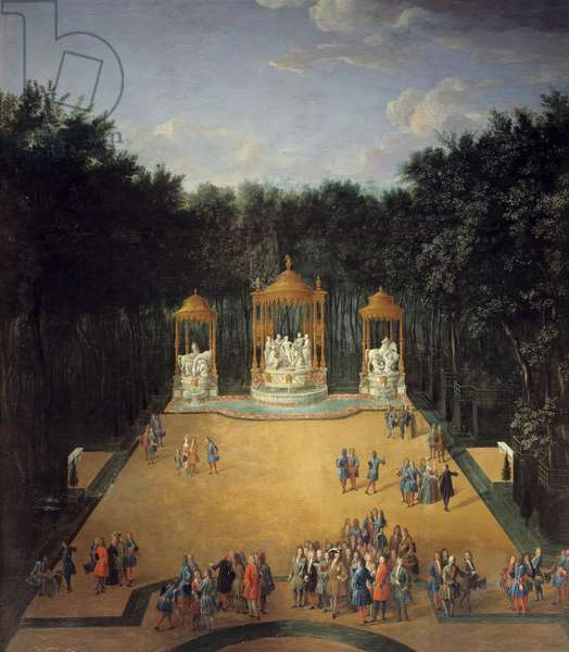 View of the grove of the Bains d'Apollon in the gardens of Versailles in 1713, in the foreground Louis XIV (1638-1715) visiting the grove Painting by Pierre Denis Martin (1663-1742) 1714. Dim. 2,6 x 1,8 m