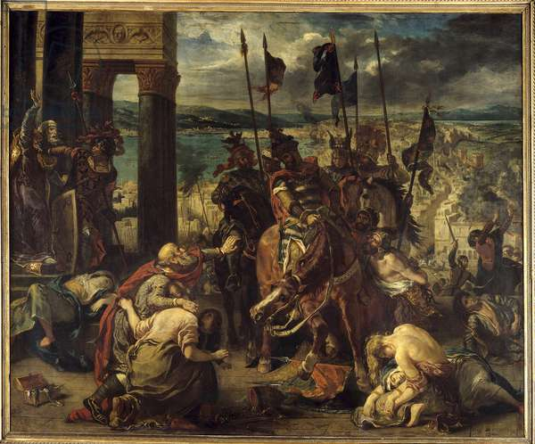 """Fourth Crusade: """""""" The capture of Constantinople by the Crusises on 12/04/1204"""""""" Entering the city, of Baudouin IX of Flanders (or Baudouin VI of Hainaut) known as Baudouin 1st of Constantinople (1171-1206), commander of the Crusades and Doge Henri Dandolo at the head of the Venitians. Painting by Eugene Delacroix (1798-1863) 1840 Sun. 4,11 x 4,97 m Paris. Louvre Museum"""
