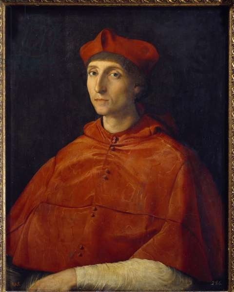 Portrait of a Cardinal - Painting by Raffaello Sanzio dit Raphael (1483-1520), 1510-1511 - Oil on wood - Sun: 79x61cm - Madrid, Musee Du Prado