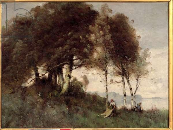 Les washeuses by Paul Desire Trouillebert (1829-1900) 19th century