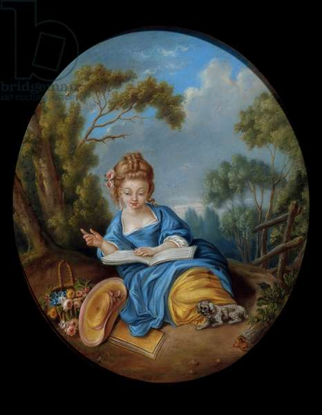 Portrait of a girl reading. French school of the 18th century. Coll. Part.