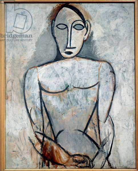 Woman with hands joined. Oil on canvas. Dim: 0.90 x 0.71m. Painting by Pablo Picasso (1881-1973), 1907. Paris, Musee Picasso.