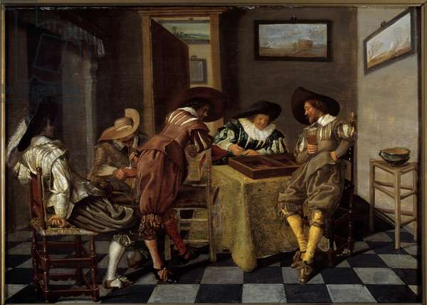 "The part of tric trac (tri-trac: old game of Backgammon). Painting by Dirk Hals (1591-1656), circa 1615-1625. Oil on wood. Dim: 0.38 X 0.53m. Lille, Musee Des Beaux Arts - Tic-trac players (""Trictrac: ancient game of Backgammon). Painting by Dirk Hals (1591-1656), circa 1615-1625. Oil on wood. 0.38 X 0.53 m. Beaux Arts Museum, Lille, France"