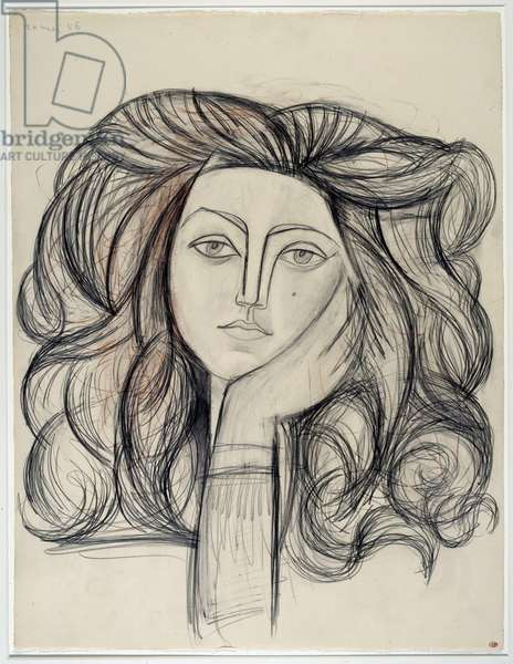 Portrait of Francoise. Drawing by Pablo Picasso (1881-1973), 1946. Lead, charcoal and coloured pencils. Dim: 0.66 x 0.50m. Paris, Musee Picasso.