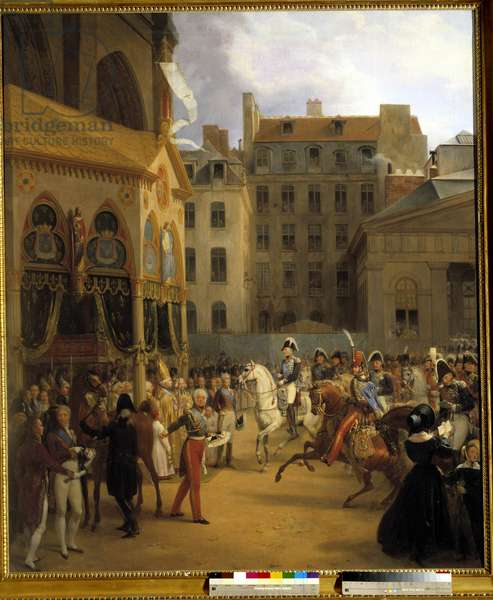 Rentree of King Charles X in Paris, going to Notre-Dame, after the death of King Louis XVIII, 27/09/1824 Painting by Nicolas Gosse (1787-1878) 1840 Sun. 1,92x1,54 m. Versailles, muse of the castle