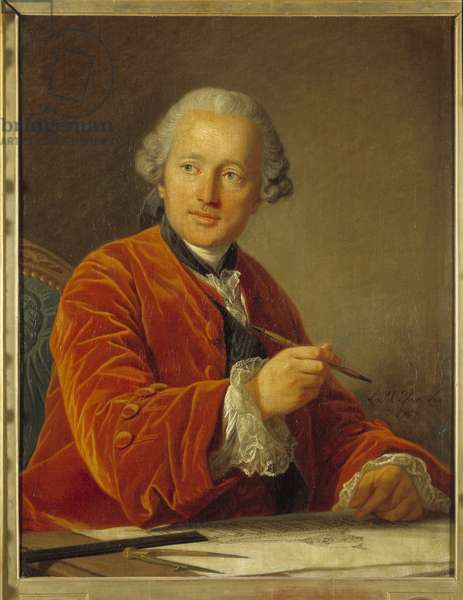Portrait of Germain Soufflot (1713-1780) architect of the Pantheon Painting by Louis Michel van Loo (1707-1771) 18th century 0,79x0,62 m