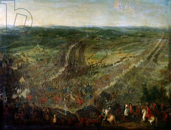 """War of the League of Augsburg: """""""" Battle of Fleurus won by the marechal of Luxembourg against the weapons of a coalition of the United Provinces (United Provinces), the Imperials, Spain and Great Britain, on 1/07/1690"""""""" Painting attributed to Pierre Denis Martin (1663-1742) 17th century. Versailles, castle museum"""