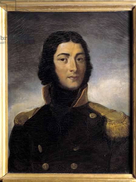 Portrait of General Louis Lazare Hoche (1768-1797) in captain's uniform in 1792 Painting by Charles Victor Lefebvre (1805-1882) 19th century. Dim 0,72 x 0,55 m