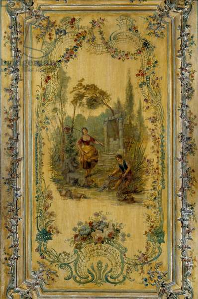 Pastoral scene, panel of the apartment of the Dauphine Marie Josephe of Saxony (1731-1767), 1747. Versailles, Musee Du Chateau