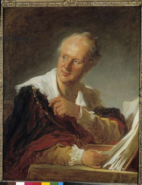 Portrait of Denis Diderot (1713-1784) Writer Painting by Jean Honore Fragonard (1732-1806) 18th century Sun. 0,81 x 0,65 m