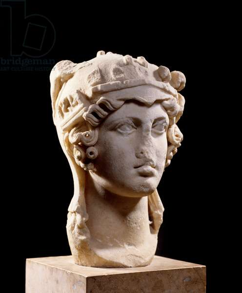 """Ancient Greece: Head of Athena Parthenos called """"Athena Odescalchi"""""""". Classic period (480-323 BC). Marble sculpture. Musee du Louvre, Paris."""
