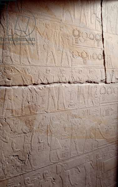 Ancient Egypt: limestone relief representing the delivery of the necklaces. From the Chapel of Mastaba in Akhethetep, around 2300 BC. 5th dynasty. Old empire. From Saqqara (Sakkara). Paris, Louvre Museum