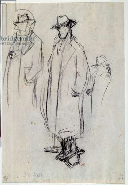 Silhouettes of Jose Ruiz (father of the artist) in overcoat. Drawing by Pablo Picasso (1881-1973), 1899. Black pencil. Dim: 0,32x0,22m. Paris, Musee Picasso.