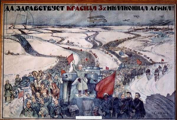 Communism: Sovietic revolutionary propaganda poster celebrating the Russian army. 20th century. St. Petersburg. Museum of Russian History