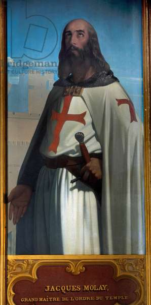 Portrait of Jacques de Molay (Molai) (ca. 1243-1314), last great master of the Templars. Painting by Amaury-Duval (1808-1885). Museum of Versailles.