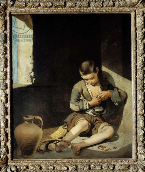 Young beggar Painting by Bartolome Murillo (1618-1682) 17th century Sun. 1,34x1 m