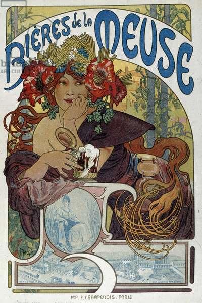 "Advertising poster for """" Les bieres de la Meuse"""" illustrated by Alphonse Mucha (1860-1939) 1898 Paris, Decorative Arts"