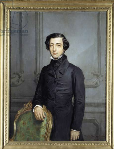 Portrait of Alexis Charles Henri Cleral de Tocqueville (1805-1859), Minister of Foreign Affairs under the Second Republic Painting by Theodore Chasseriau (1819-1856), 1850. Dim. 1,63 x 1,30 m. Versailles, musee du Chateau - Portrait of Alexis Charles Henri Cleral de Tocqueville (1805-1859), Minister of Foreign Affairs during the Second Republic. Painting by Theodore Chasseriau (1819-1856), 1850. 1.63 x 1.30 m. Versailles, Castles of Versailles and Trianon