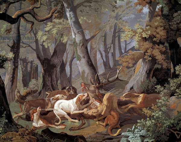 Stag Hunting Dussy wallpaper after a painting by Alexandre-Francois Desportes (1661-1743). 1851. Paris, Decorative Arts